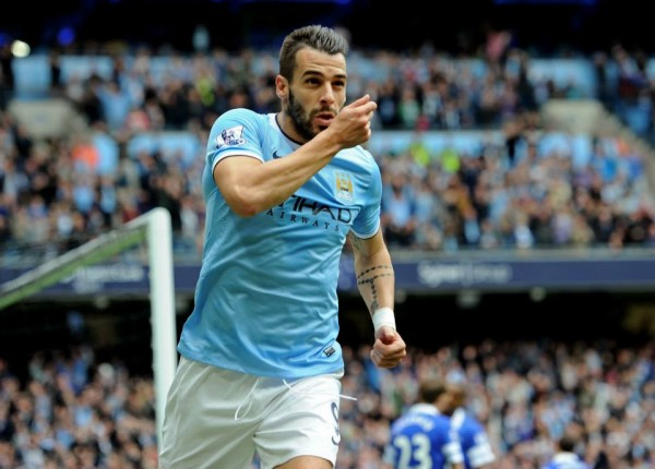 Alvaro Negredo Celebrates Scoring for Manchester City.