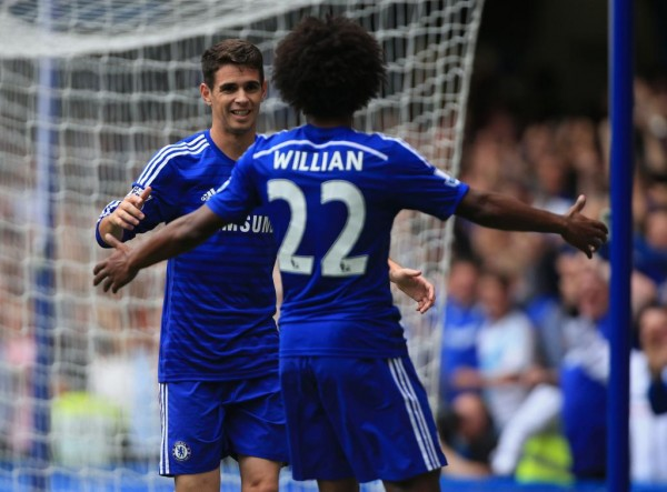 Willian and Oscar Celebrates Chelsea's Third Goal. Image: Getty.