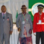 L-R; HEAD OF PRESIDENTIAL STEWARDS ONUH ISAAC MICHAEL (MON), TAXI DRIVER, MR. IMEH UBRU (MFR) AND TRAFFIC WARDEN, CPL.SOLOMON DAUDA (MON), AT THE 2013 AND 2014 NATIONAL HONOURS AWARD ON MONDAY.