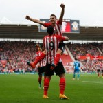 Graziano Pelle and Duan Tadec Celebrates Southampton's Sixth Goal in an 8-0 Whitewashing of Sunderland. Image: Getty.