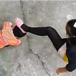 Shocking photos: See moment Chinese stepmother whips & kicks a toddler for wetting herself