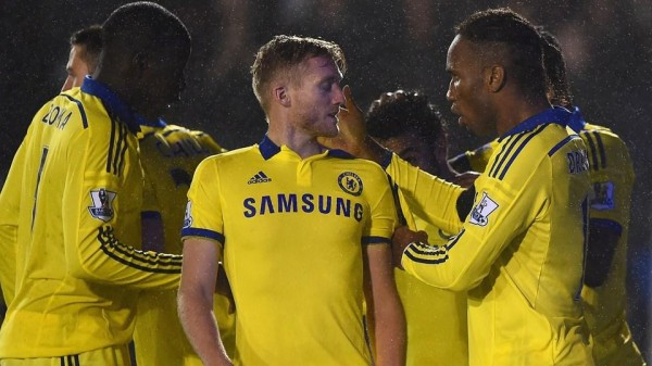 Didier Drogba Celebrates With Team-Mates During Tuesday Night's League Cup Win at Shrewsbury. Image: Getty.