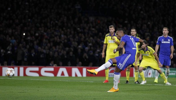 Didier Drogba Converts His First Chelsea Goal Since Return Against Maribor. Image: Getty.