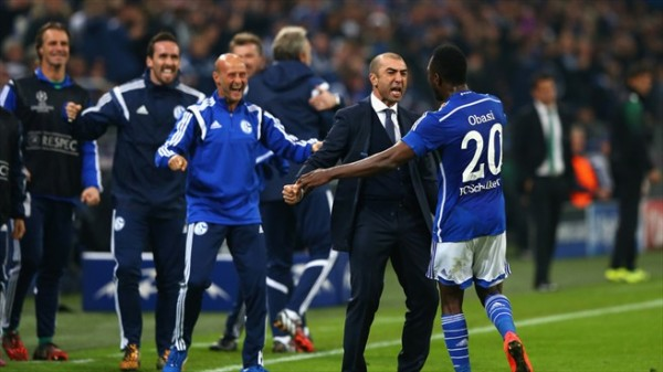 Chinedu Obasi and Roberto Di Matteo Celebrates Equaliser Against Sporting Lisbon. Image: AFP/Getty.