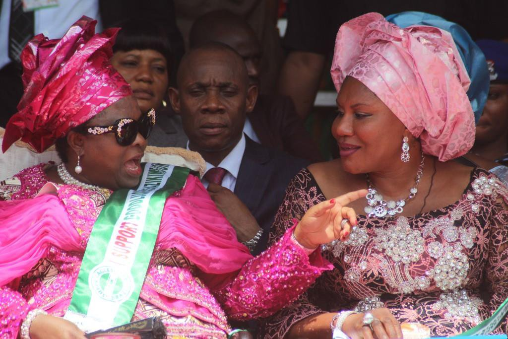FIRST LADY DAME PATIENCE JONATHAN, AND CHIEF MRS EBELECHUKWU OBIANO, WIFE OF THE GOVERNOR OF ANAMBRA STATE DURING THE SOUTH EAST WIDOWS EMPOWERMENT PROGRAMME HELD IN AWKA...SATURDAY