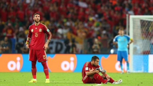 Sergio Ramos Shocked After Spain's Early Exit from the 2014 World Cup. Image: Getty.