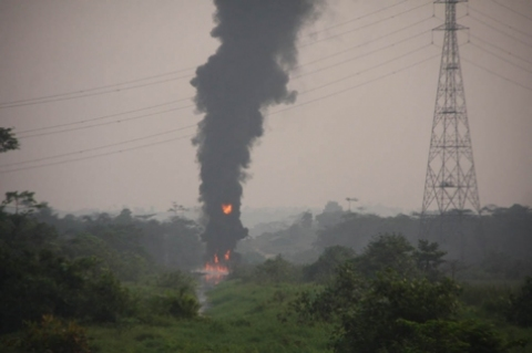 SCENE OF TODAY'S PIPELINE FIRE IN AREPO VILLAGE IN OGUN STATE