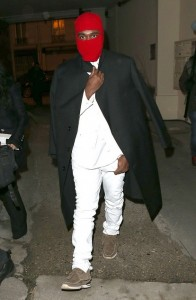 Kanye West Wears Red Ski Mask To Fashion Show