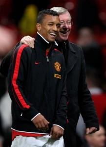 Nani and Sir Alex Ferguson