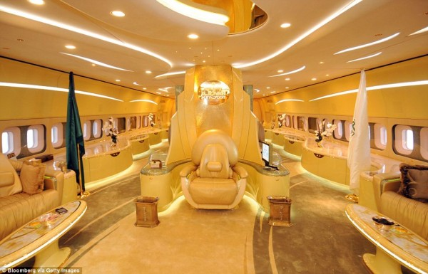GOLD: A COMFORTABLE THRONE SITS IN THE MIDDLE OF PRINCE AL-WALEED'S BOEING 747