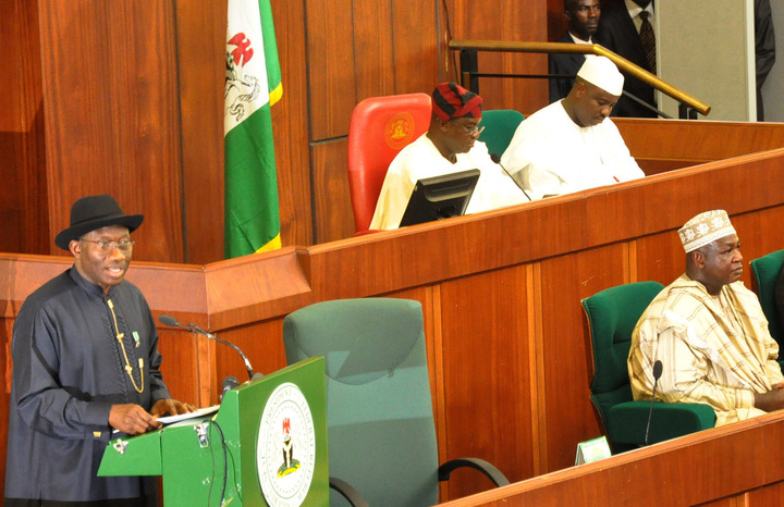 PRESIDENT JONATHAN PRESENTING 2013 BUDGET PROPOSAL TO A JOINT SITTING OF NATIONAL ASSEMBLY