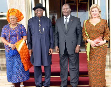 FROM LEFT: FIRST LADY, DAME PATINCE JONATHAN; PRESIDENT GOODLUCK JONATHAN; PRESIDENT ALASSANE OUATTARA OF COTE D'IVOIRE AND HIS WIFE, DOMINIQUE, DURING PRESIDENT JONATHAN'S STATE VISIT IN YAMOUSSOUKRO ON FRIDAY