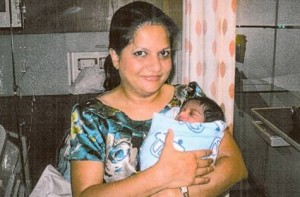 Dr Elsa Menezes,  specialist obstetrician and gynaecologist at Mediclinic City Hospital, with newborn Khalid Mohammad.