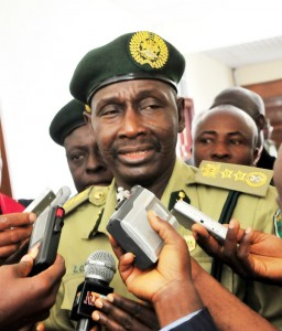 PIC. 10.  NEW  CONTROLLER-GENERAL OF PRISONS SERVICE, MR ZAKARI IBRAHIM,  ANSWERING QUESTIONS FROM NEWSMEN AFTER HIS DECORATION  IN ABUJA ON THURSDAY