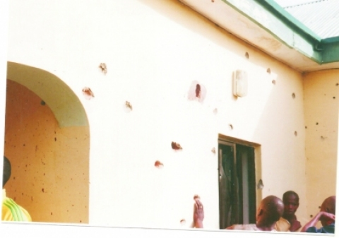 BULLET-RIDDLED HOUSE IN MABERA LAYOUT AFTER A FAILED RESCUE ATTEMPT OF TWO EUROPEANS IN MAY 2012