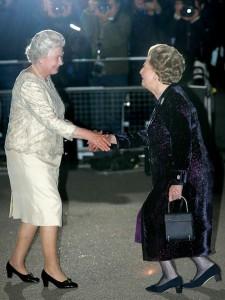 2005: Margaret Thatcher greets Queen Elizabeth II