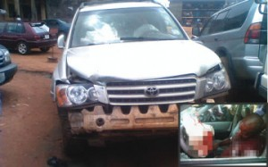 The Toyota Highlander Korie was driving. inset: Korie