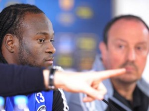 Victor Moses at the Press Conference with Benitez.