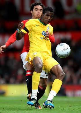 Zaha in Action at Old Trafford in the Capital One Cup Tie.