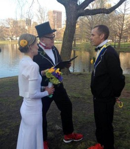 The couple tied the knot shortly after finishing the Boston Marathon, which was marred by tragedy.