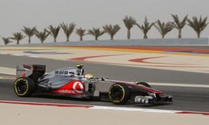 Bahrain F1 grand prix: Lewis Hamilton drives in a practice session