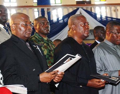 FROM LEFT: FORMER VICE PRESIDENT, CHIEF ALEX EKWUEME; REPRESENTATIVE OF THE PRESIDENT OF LIBERIA, PROF. AL-HASSAN CONTEH; PRESIDENT OF THE REPUBLIC OF GHANA, MR JOHN MAHAMA; PRESIDENT GOODLUCK JONATHAN