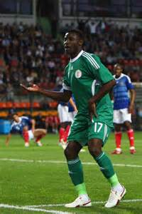 Joseph Akpala after the Goal in a Friendly Against France.