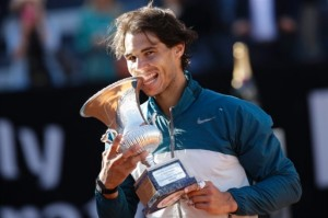 Rafael Nadal With His Seventh Italian Open Trophy.
