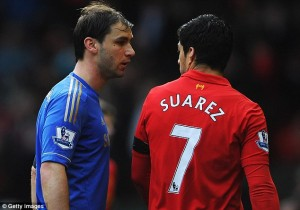 Branislav Ivanovic Confronts Luis Suarez After the Biting Incident.