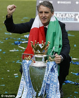 Roberto Mancini Pose for a Photograph With the BPL Trophy.