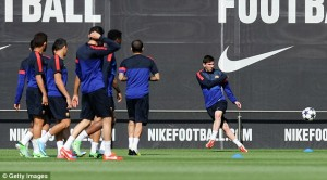 Lionel Messi in Training Ahead of the Champions League Second- Leg Clash Against Bayern.