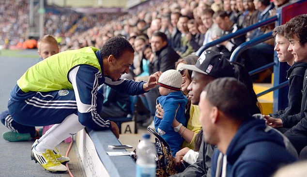 Peter and his Family During West Brom vs. Wigan Warmup.