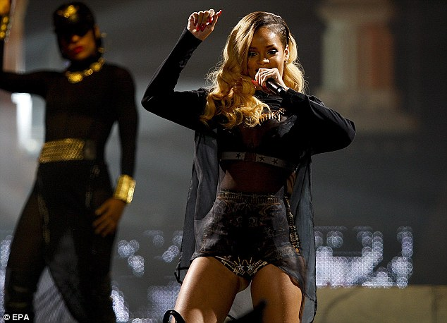 Rihanna Performs On Stage in Lisbon On Her Recent Tour.