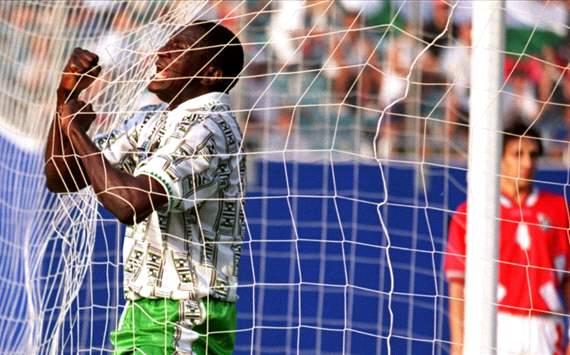 The Late Reshidi Yekini After Scoring Nigeria's First Ever World Cup Goal.