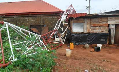 Family Of 3 Escapes Death As Mast Falls On Building