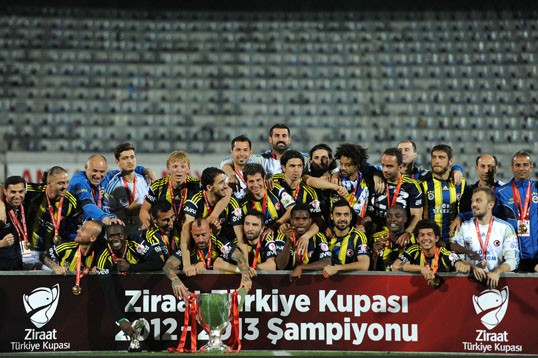 Fenerbache Celebrates Their 1-0 Victory Against Trabzonspor In the Turkish Cup.