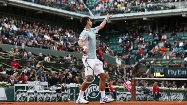 Novak Djokovic Serves For Belgian Opponent David Goffin.