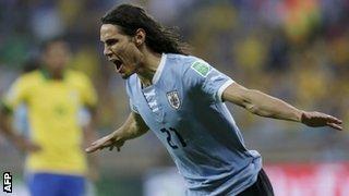 Napoli's Highly-Rated Striker Edinson Cavani Celebrates in Style.