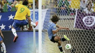 Fred Scores With His Shin Against Uruguay.
