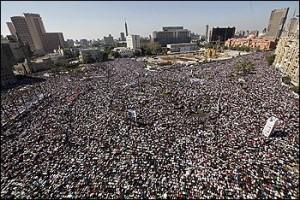 file: aerial view of protesters at Tahir Square, Cairo