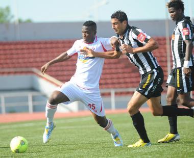 Rangers Forward Gero in Action Against CS Sfaxien in Enugu.