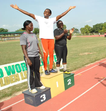 Queen Obisesan Steps On the Podium After Breaking the National Record.