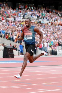 Usain Bolt at the Sainsbury's Anniversary Games Relay.