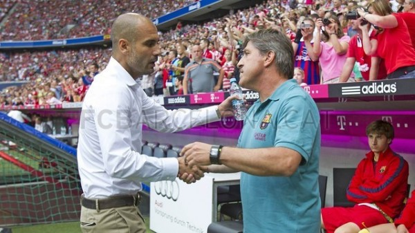 Pep Guardiola and Jordi Roura at the Allianz Arena on Wednesday Night.