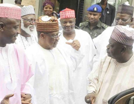 FROM LEFT: GOV. ALIYU WAMAKKO OF SOKOTO STATE; FORMER HEAD OF STATE, GEN. ABDULSALAMI ABUBAKAR; FORMER MILITARY PRESIDENT, GEN. IBRAHIM BABANGIDA; GOV. RABIU KWANKWASO OF KANO; GOV. SULE LAMIDO OF JIGAWA AND GOV. BABANGIDA ALIYU OF NIGER, DURING THE GOVERNORS MEETING ON POLITICAL ISSUES IN MINNA