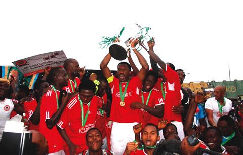 Captain Heartland FC of Owerri Chinedu Efugh celebrating after his team's 2-1 victory over Lobi Stars FC of Makurdi.