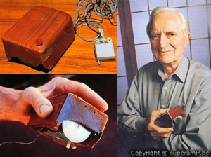 Douglas Engelbart with the first mouse ever