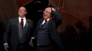 Australian Minister Ian Hunter, right with partner Leith Semmens after getting married in Spain last year