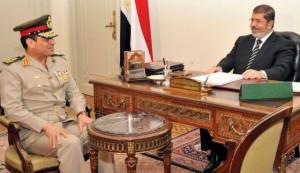 General Abdel Fattah al-Sisi with ousted president Mohammed Morsi