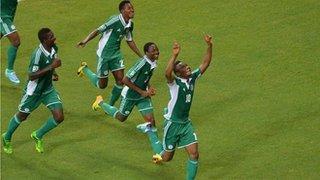 Mikel Obi Celebrates Scoring Against Uruguay. Nigeria Lost the Encounter 2-1.